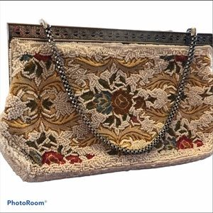 1980's Vintage Beaded Evening Bag Floral Beading